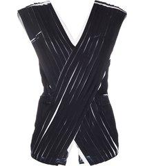 3.1 phillip lim criss-cross pleated blouse - black