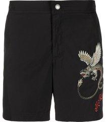 alexander mcqueen dragon embroidered swim shorts - black