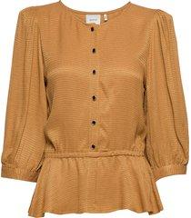merlegz blouse so20 blouse lange mouwen bruin gestuz