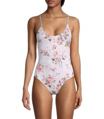 chaser women's floral-print lace-up one-piece swimsuit - cupcake - size xs