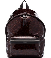 saint laurent tortoiseshell-effect zipped backpack - brown