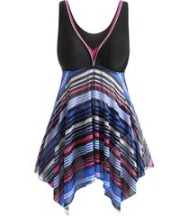 stripes mesh panel handkerchief plus size tankini swimsuit
