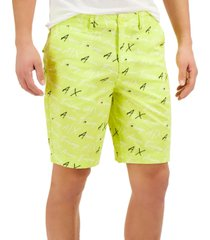 ax armani exchange fluorescent all-over logo shorts, created for macy's