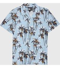 camisa azul-blanco-camel banana republic