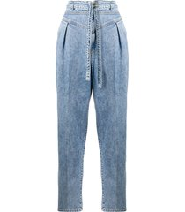 pinko high-waist belted jeans - blue