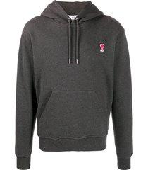 ami cotton pullover hoodie - grey