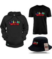 moletom canguru e camiseta com bucket among us tripulantes - preto