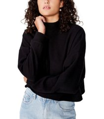 cotton on women's brina brushed rib mock neck sweatshirt