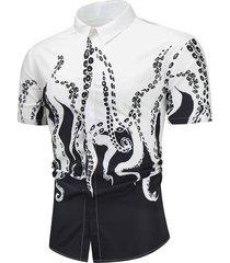 contrast octopus print button up lounge shirt