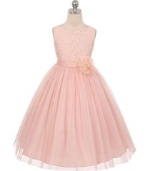 blush sleeveless lace tulle flower girl dress birthday bridesmaid party pageant