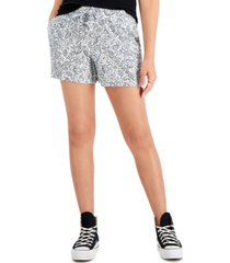 style & co printed gauze drawstring shorts, created for macy's