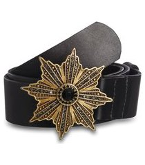 cinto teodora's couro liso fivela estrela metal envelhecido preto