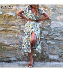 zanzea vestido floral de verano para mujer fiesta en la playa cóctel vacaciones tallas grandes vestido de verano -verde