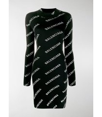 balenciaga all-over logo print fitted dress