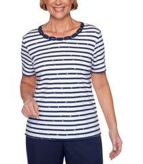alfred dunner petite ship shape braided-neck striped top