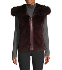 dyed rabbit and fox fur hooded vest