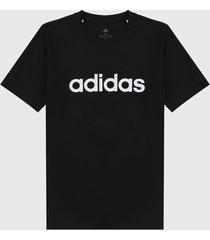 camiseta negro-blanco adidas performance essentials logo lineal bordado