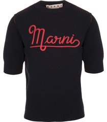 marni woman short sleeve sweater in black shetland wool with embroidered logo