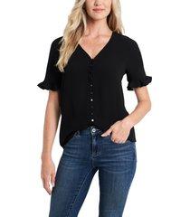 women's cece ruffle sleeve crepe blouse, size x-large - black