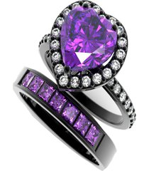14k black gold fn heart shape amethyst & simulated diamond bridal wedding ring