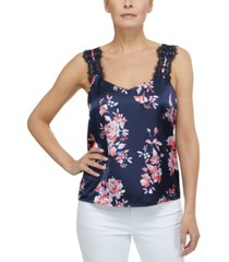 laundry by shelli segal floral-print lace-trim sleeveless top