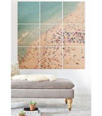 deny designs ingrid beddoes beach summer fun 9-pc. printed wood wall mural
