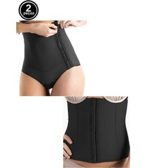 kit cinta modeladora abdominal e cinta pós parto tivesty preto