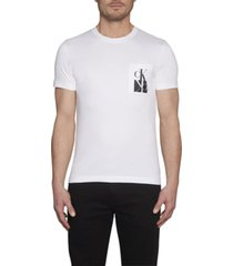 camiseta slim de algodón orgánico con logo en el bolsillo blanco calvin klein