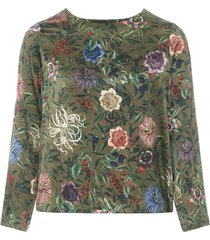 camicetta bombolone motivo floreale in satin elasticizzato