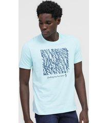 camiseta aleatory folhagem azul - azul - masculino - algodã£o - dafiti