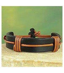 men's leather wristband bracelet, 'enduring strength' (ghana)