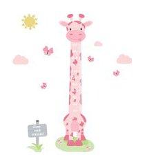 adesivo de parede quartinhos infantil régua girafa rosa e borboletas