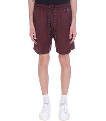 low brand shorts in bordeaux wool