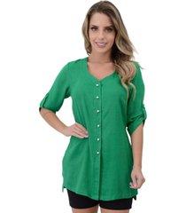 camisa mamorena comprida decote v verde