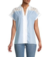 karl lagerfeld paris women's striped contrast lace top - heritage blue white - size xs