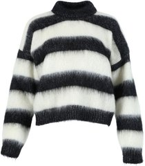 black and white turtleneck pullover sweater
