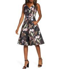 women's maison tara floral jacquard sleeveless fit & flare dress, size 8 - black