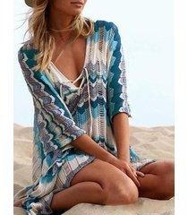 tie-up diseño wave con cuello en v medias mangas playa vestido