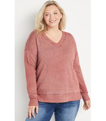 maurices plus size womens solid v neck sweatshirt brown