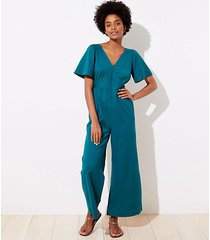 loft loft beach flare sleeve tie back jumpsuit