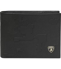 automobili lamborghini wallet with coin compartment, in all-over camouflage textured leather