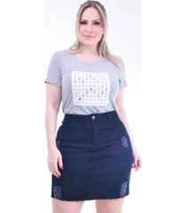 t- shirt plus size perfectly: cinza mescla: 46