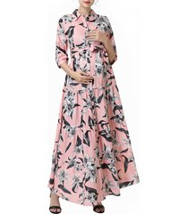 women's kimi and kai cora floral belted maternity/nursing maxi dress, size x-small - pink