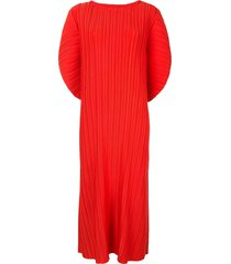 bambah pleated batwing sleeve dress - red