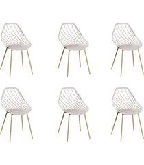 conjunto 06 cadeiras cloe base aço nude