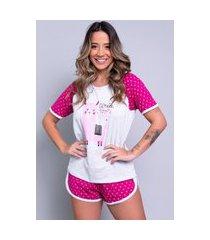 pijama bella fiore modas manga curta estampada adriana pink