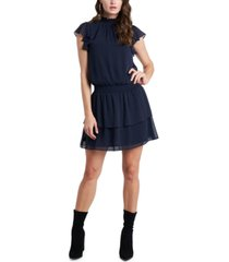 1.state ruffled mock-neck dress