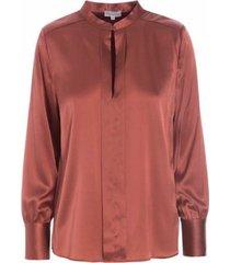 bibi silk blouse, cognac - silk blouse with chinese collar