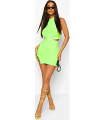 neon high neck twist front mini dress, neon-green