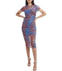 bcbgmaxazria printed mesh midi dress